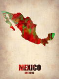 Mexico Watercolor Map Plastikschild von  NaxArt