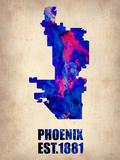Phoenix Watercolor Map Plastskilt av  NaxArt