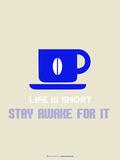 Coffee Poster Blue Targa di plastica di  NaxArt