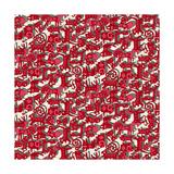 Chinese Animals Red Premium gicléedruk van Sharon Turner