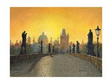 Misty Dawn Charles Bridge Prague Affiches par Richard Harpum