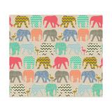 Baby Elephants and Flamingos Premium gicléedruk van Sharon Turner