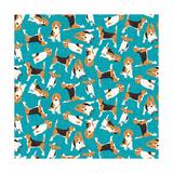 Beagle Scatter (Variant 1) Posters van Sharon Turner