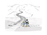 Hitch Hiking Robot - Cartoon Premium Giclee Print by Kaamran Hafeez