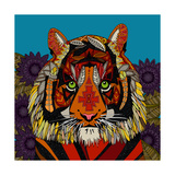 Tiger Chief Blue Posters van Sharon Turner