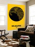 Melbourne Street Map Yellow Vægplakat af  NaxArt