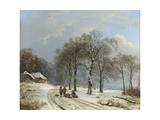 Winter Landscape, 1835-8 Giclee-trykk av Barend Cornelis Koekkoek