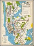 1949, New York Subway Map, New York, United States Impressão montada