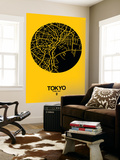 Tokyo Street Map Yellow Poster géant par  NaxArt