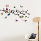 Magnolia and 3D Butterflies Muursticker