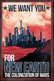 Mars Retro Space Travel - Colonize Mars Kunstdruck von  Lynx Art Collection