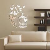 Mirror Butterflies and Birdcage Mirror Wall Art Veggoverføringsbilde