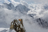 A Sherpa Coils Fixing Ropes at Camp Ii on Ama Dablam Photographic Print by Aaron Huey