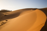 Caravan of Tourists and Camels Travel over a Sand Dune During Sunset in Morocco Photographic Print by Erika Skogg