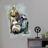 Star Wars: Episode VII - R2D2, C3PO, BB-8 Giant Wall Graphic Autocollant mural