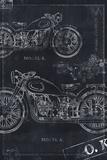 Motorcycle Co. Blueprint Black II Kunstdrucke von Eric Yang