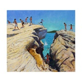 Jumping Off the Rocks, Plates, Skiathos, 2015 Giclee Print by Andrew Macara