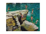 Detail of Jumping into the Sea, Plates, Skiathos, 2015 Impressão giclée por Andrew Macara