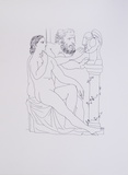 Escultor, Modelo y busto esculpido Posters av Pablo Picasso