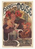 Bières de la Meuse, ølreklame, på fransk Samlertryk af Alphonse Mucha
