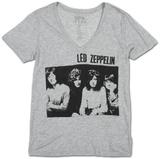 Womens: Led Zeppelin- Sitting Group V-Neck T-shirts col V femme