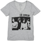 Womens: Led Zeppelin- Sitting Group V-Neck Damen-T-Shirts mit V-Ausschnitt