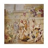 St. Cecilia Distributing Alms, C.1612-15 Giclée-tryk af  Domenichino