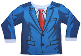 Toddler Long Sleeve:  Cartoon Suit Costume Tee (Front/Back) T-shirts