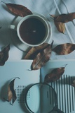 Brown Leaves and a Cup of Coffee Photographic Print by Carolina Hernandez