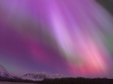 Aurora Borealis, Wrangell Mountains, Alaska, USA Metalltrykk av Hugh Rose