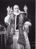 Papal Pius Pope Portrait Serious Throne Undated XII Metalldrucke
