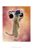 Meerkat and Boom Box Print by  Fab Funky