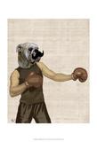 Boxing Bulldog Portrait Posters van  Fab Funky