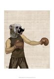 Boxing Bulldog Portrait Print by  Fab Funky