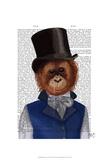 Orangutan in Top Hat Affiches par  Fab Funky