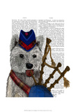 West Highland Terrier and Bagpipes Prints by  Fab Funky