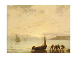 Return from Fishing with Setting Sun Reproduction procédé giclée par Eugene Louis Boudin
