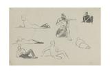 Possible Studies for 'Dawn of Waterloo', 1893 Gicléetryck av Lady Butler