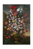 Lilies, Tulips, Carnations, Peonies, Convolvuli and Other Flowers in a Bronze Urn, 1718 Lámina giclée por Bartolomeo Bimbi