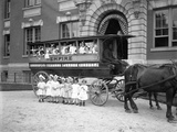Small Girls Pose in and in Front of a Horse-Drawn Wagon Photographic Print by William Davis Hassler