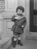 Little Boy in Sailor Suit on Front Stoop of Vermilyea Avenue Apartment Building, C.1913 Photographic Print by William Davis Hassler