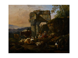 Roman Landscape with Cattle and Shepherds, 1676 Giclee Print by Johann Heinrich Roos