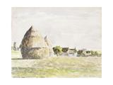 Haystack, Eragny Evening; La Meule De Foin, Soir Eragny, 1889 Reproduction procédé giclée par Camille Pissarro