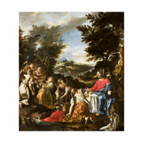 Christ Served by Angels, C.1695 Giclée-tryk af Sebastiano Ricci