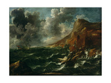 Ships in a Gale, C.1705-08 Giclée-tryk af Marco Ricci