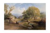 Landscape, Bridge and Figures Giclee Print by Thomas Miles Richardson