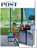 """Poolside Piano Practice,"" Saturday Evening Post Cover, June 11, 1960 Kunstdrucke von George Hughes"