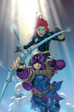 Hawkeye No.8 Cover: Hawkeye and Black Widow Poster di Salvador Larroca