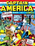 Kapteeni Amerikka, sarjakuvan numero 1, kansikuva, Kapteeni Amerikka, Hitler ja Adolf Posters tekijänä Jack Kirby