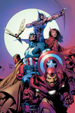 Avengers No.80 Cover: Iron Man, Captain America, Vision, Scarlet Witch, Hawkeye, Wasp and Avengers Posters by David Finch